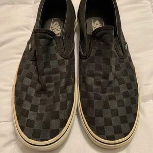 Checkerboard Vans slip on